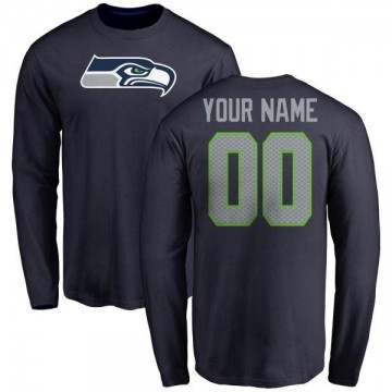 Men's Custom Seattle Seahawks Name & Number Logo Custom Long Sleeve T-Shirt - Navy
