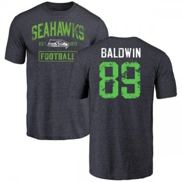 Men's Doug Baldwin Seattle Seahawks Navy Distressed Name & Number Tri-Blend T-Shirt