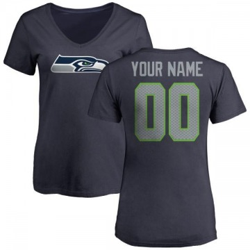 Women's Custom Seattle Seahawks Name & Number Logo Custom Slim Fit T-Shirt - Navy