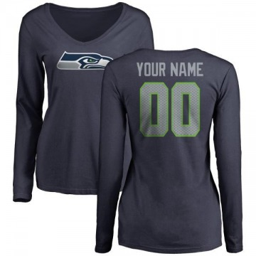 Women's Custom Seattle Seahawks Name & Number Logo Slim Fit Long Sleeve Custom T-Shirt - Navy