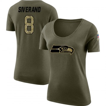 Women's Kemah Siverand Seattle Seahawks Salute to Service Olive Legend Scoop Neck T-Shirt