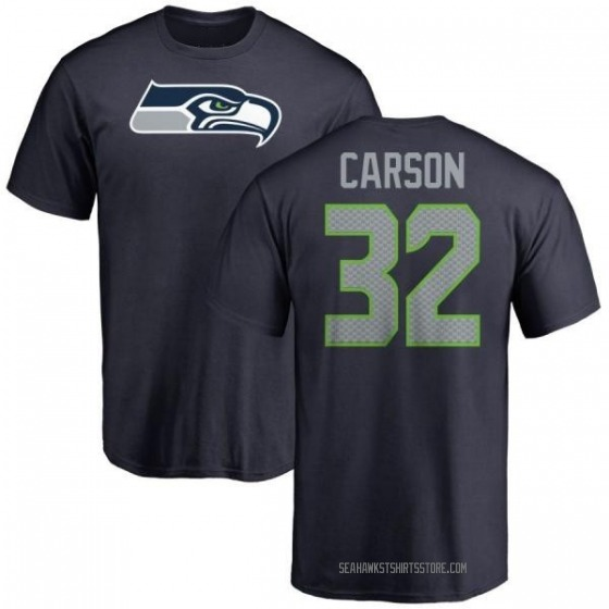 Youth Chris Carson Seattle Seahawks Name & Number Logo T-Shirt - Navy